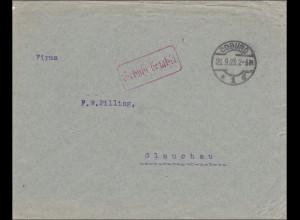 Gebühr bezahlt: Brief aus Coburg 1923 nach Glauchau