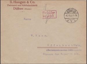 Gebühr bezahlt: Brief aus Dülken 1923 nach Offenbach