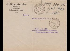 Gebühr bezahlt: Brief aus Cobern, Weinbau/Weinhandel nach Köln 1923