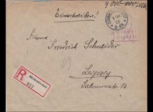 Gebühr bezahlt: Brief aus Dürrhennersdorf 1923 nach Leipzig