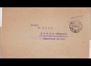 Gebühr bezahlt: Brief aus Berlin nach Aaran/Schweiz 1923