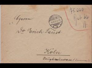 Gebühr bezahlt: Brief aus Weissenthurm 1923 nach Köln