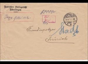 Gebühr bezahlt: Brief aus Überlingen nach Zürich, Amtsgericht 1923