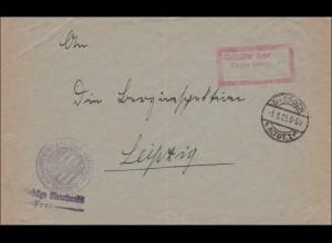 Gebühr bezahlt: Brief aus Dresden, Innenministerium, 1923 nach Leipzig
