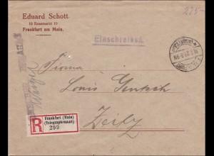 Gebühr bezahlt: Einschreiben von Frankfurt Main/Telegraphenamt nach Zeitz 1923