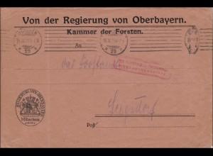 Gebühr bezahlt: Brief der Regierung von Oberbayern 1923 München nach Siegsdorf