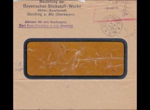 Gebühr bezahlt: Brief aus Garching 1923