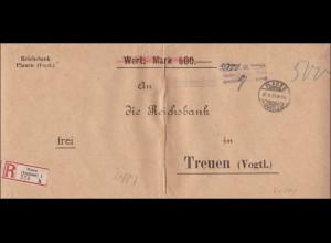 Gebühr bezahlt: übergroßer Brief aus Plauen 1923 nach Treuen/Vogtland