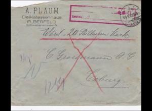 Gebühr bezahlt: Elberfeld, Delikatessen, als Wertbrief nach Coburg 1923