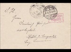 Gebühr bezahlt: Brief aus Marburg 1923