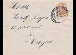 Bahnpost: Zugstempel Waldshut-Immendingen1917, Rückseitiger Verschluss