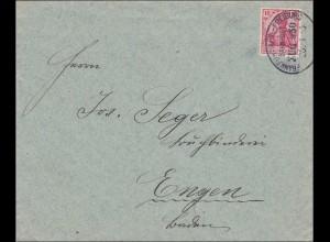 Bahnpost: Brief mit Zugstempel Frankfurt-Freiburg 1913
