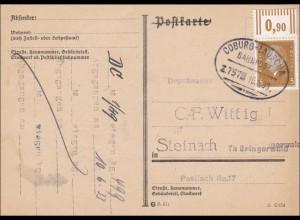 Bahnpost: Postkarte mit Zugstempel Coburg-Lauscha 1933, nach Steinach/Thüringen