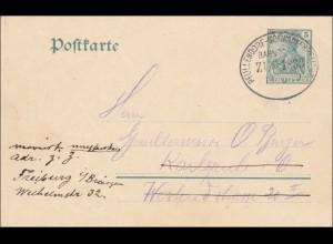 Bahnpost: Ganzsache Germania mit Zugstempel Pfullendorf-Schwackenbeuthe 1909