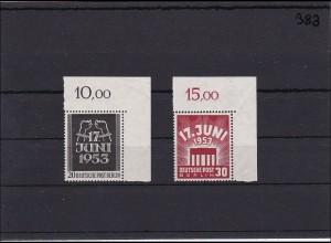 Berlin MiNr. 110-111, ** postfrisch, Bogenecke ungefaltet