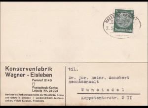 Bahnpost: Postkarte aus Eisleben nach Wunsiedel mit Zugstempel-Halle-Kassel 1937