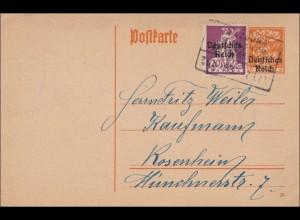 Bahnpost: Ganzsache von Würzburg nach Rosenheim 1920 mit Zugstempel