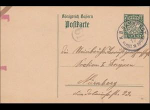 Bahnpost: Ganzsache mit Bahnpost Stempel nach Nürnberg 1917