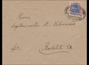Bahnpost: Brief aus Meissen nach Rochlitz, Zugstempel Leipzig-Göbeln-