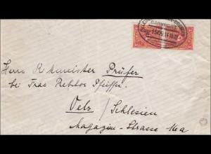 Bahnpost: Brief aus Grimma mit Zugstempel Leipzig - Dresden 1922