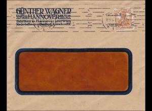 Perfin: Brief aus Hannover, Günther Wagner 1916, G.W.