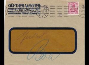 Perfin: Brief aus Hannover, Günther Wagner, 1912, GW