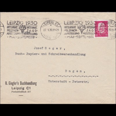 Perfin: Brief aus Leipzig, R. Gieglers Buchhandlung, 1930, G.S.