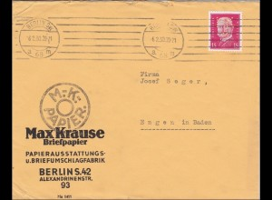 Perfin: Brief aus Berlin 1930, Max Krause Briefpapier, MK