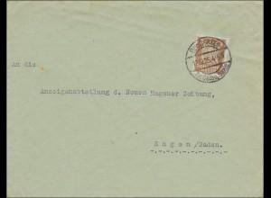 Perfin: Brief aus Großsalze 1925, KI