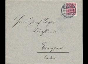 Perfin: Brief aus Freiburg 1909, II