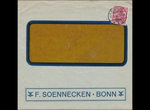 Perfin: 1914 Brief aus Bonn, F. Soennecken, FS