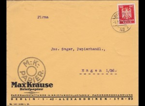 Perfin: Brief aus Berlin, Max Krause, Briefpapier, 1926, MK