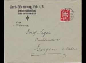 Perfin: Brief aus Lahr/Baden, 1925, Moritz Schauenburg, MS
