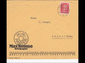 Perfin: Brief aus Berlin, Max Krause Briefpapier, 1927, MK