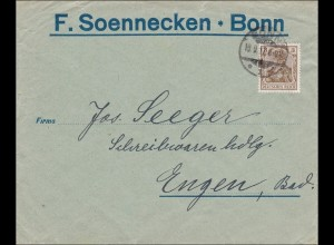 Perfin: Brief aus Bonn, F. Soennecken, 1912, F.S.