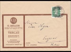 Perfin: Brief aus Karlsruhe, 1928, G. Braun, Verlag