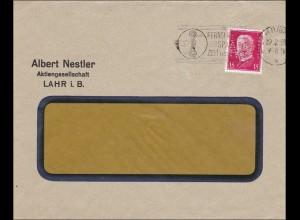 Perfin: Brief aus Lahr im Breisgau, Albert Nestler, 1930, A.N.