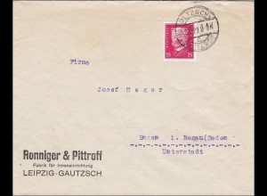 Perfin: Brief aus Leipzig, Ronniger&Pittroff, 1929, RP