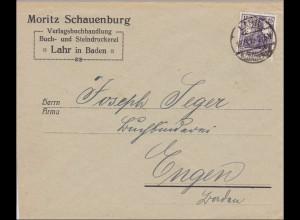 Perfin: Brief aus Lahr/Baden, 1919, Moritz Schauenburg, MS