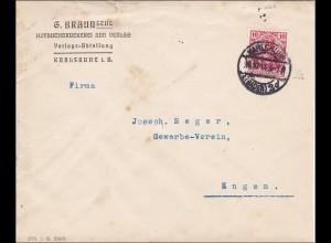 Perfin: Brief aus Karlsruhe, 1913, Hofbuchdruckerei Braun,
