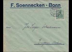 Perfin: Brief aus Bonn, F. Soennecken, 1920, F.S.