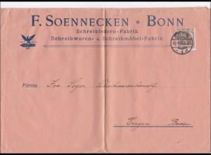 Perfin: Brief aus Bonn, F. Soennecken, 1906, Schreibfedern, FS
