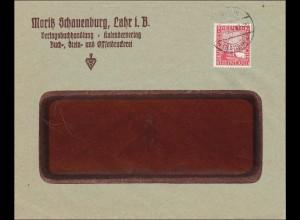 Perfin: Brief aus Lahr, 1925, Moritz Schauenburg, MS