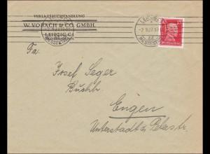 Perfin: Brief aus Leipzig, W. Vobach, 1927, W.V.