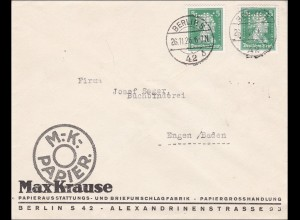 Perfin: Brief aus Berlin, 1926, Max Krause Briefpapier, MK