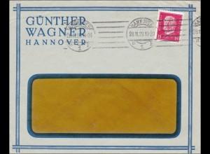 Perfin: Brief aus Hannover, Günther Wagner, 1929, GW