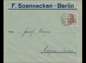Perfin: Brief aus Berlin, F.Soennecken, 1918, F.S.