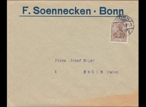 Perfin: Brief aus Bonn, F.Soennecken, 1914, F.S.
