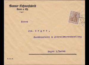 Perfin: Brief aus Bonn, Fahnenfabrik, B.F.B.
