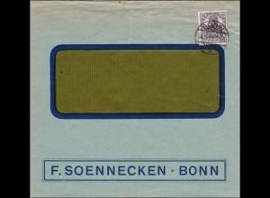 Perfin: Brief aus Bonn, F. Soenecken, 1919, FS